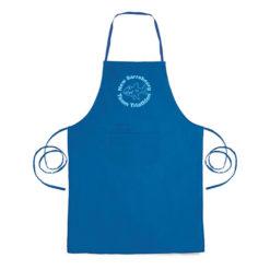 C95 Tablier bleu avec deux poches imbriquée à personnaliser par une impression en sérigraphie