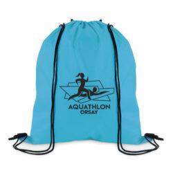 DA9-sac à dos à cordons 100% polyester 210 deniers avec impression personnalisé en sérigraphie pour manifestation sportive
