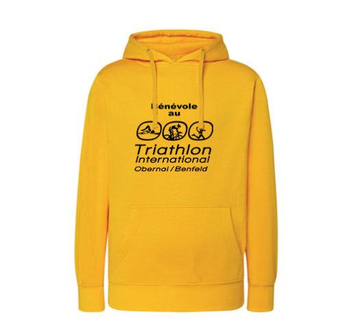 J2H-Sweat shirt homme avec capuche et poche kangourou. Impression sérigraphie pour triathlon et marathon