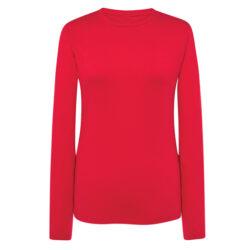 J4F-Tee-shirt femme à manches longues 100% coton rouge