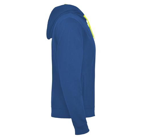 T46 sweat à capuche et à zip, bicolore bleu et jaune, personnalisable par sérigraphie