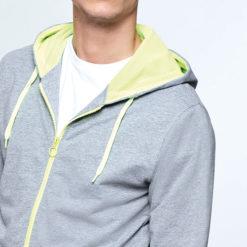 T46 sweat à capuche et à zip, bicolore gris et jaune, personnalisable par sérigraphie
