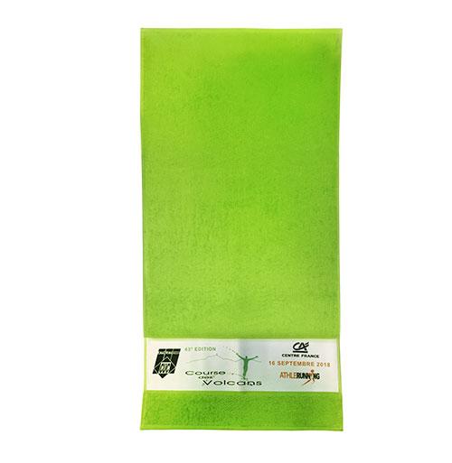K1 Serviette éponge en coton vert avec personnalisation