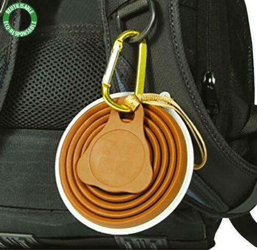 SSG1 Tasse pliable en silicone alimentaire avec couvercle et mousqueton